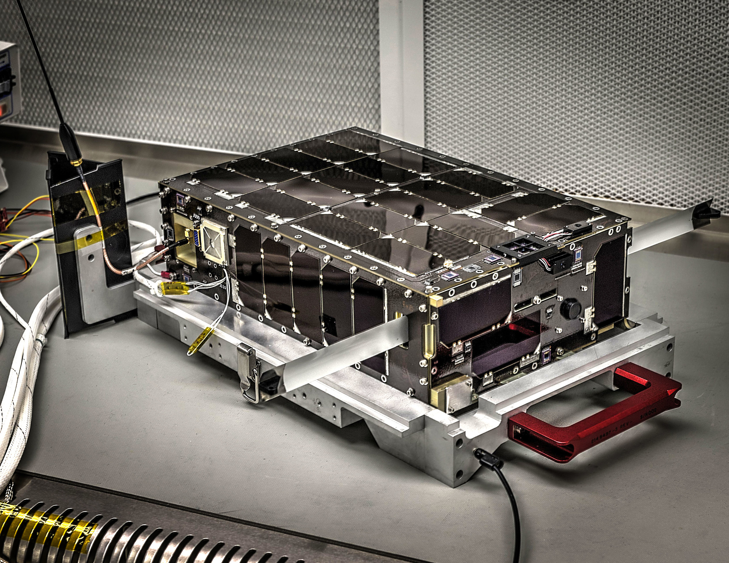 Dellingr's exterior is lined with solar panels. Slighty larger than a cereal box, Dellingr is a six-unit, or 6U, CubeSat – indicating its volume is approximately six liters. – Image Credits: NASA's Goddard Space Flight Center/Bill Hrybyk