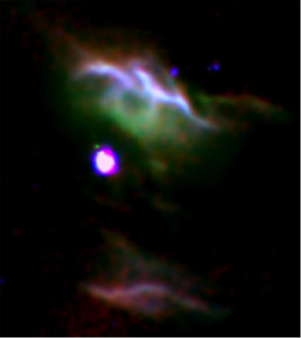 Combination of three color images of NGC 7023 from SOFIA (red & green) and Spitzer (blue) show different populations of PAH molecules. – Image Credits: NASA/DLR/SOFIA/B. Croiset, Leiden Observatory, and O. Berné, CNRS; NASA/JPL-Caltech/Spitzer.