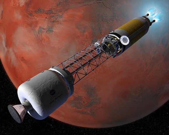 The Crew Transfer Vehicle (CTV) using its nuclear-thermal rocket engines to slow down and establish orbit around Mars. - Image Credit: NASA