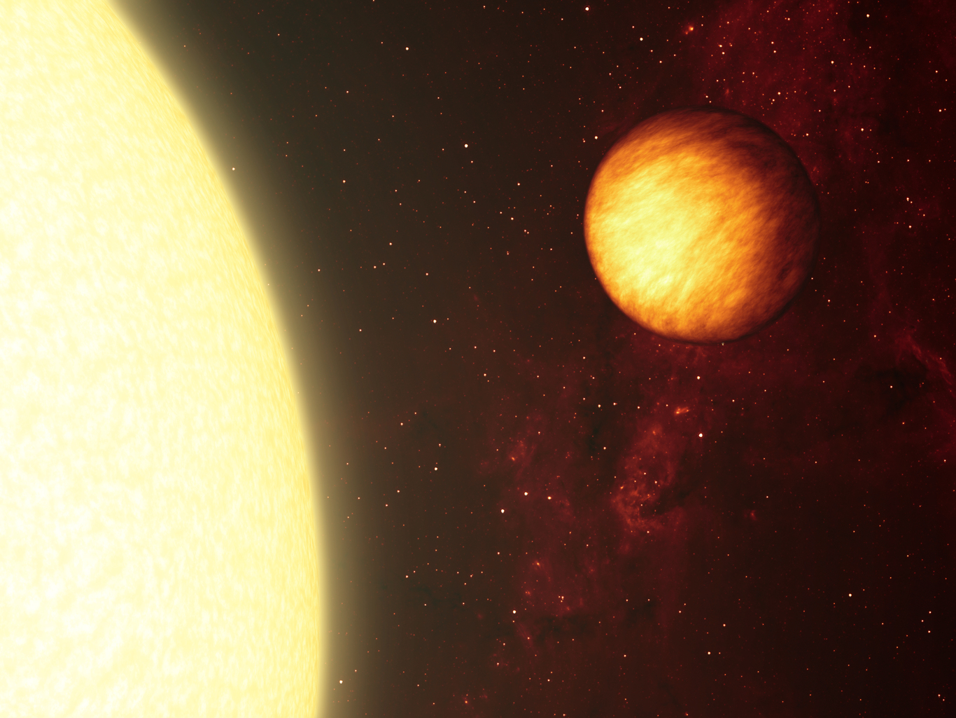 An artist's impression of a hot Jupiter, Upsilon Andromedae b, about to pass behind the disk of its host star. – Image Credit: NASA/JPL-Caltech/R. Hurt (SSC)