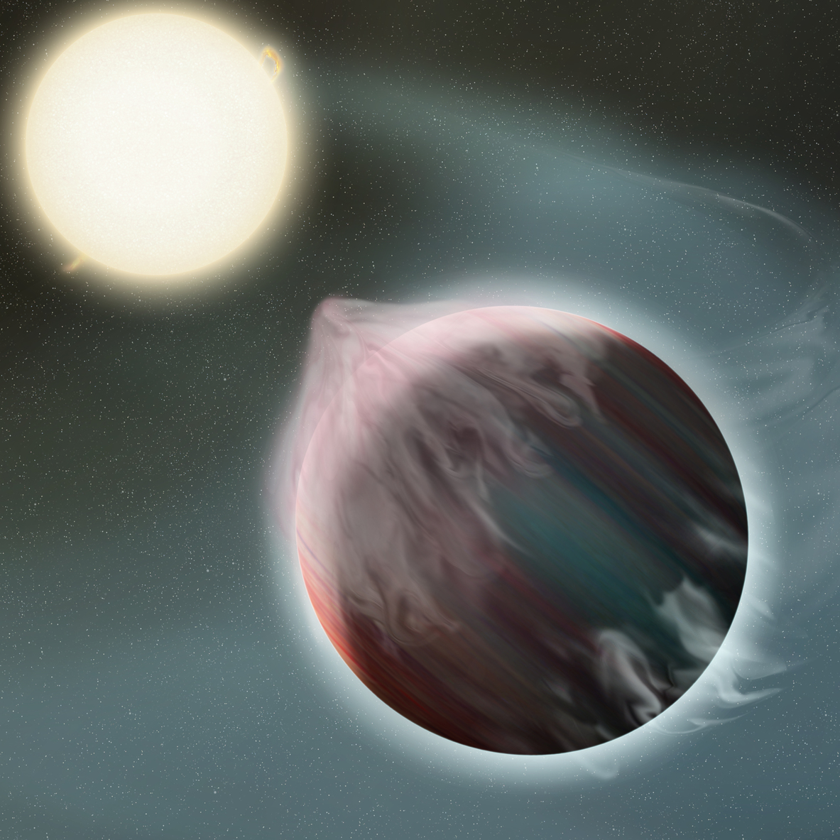 An artist's impression of a hot Jupiter, being slowly torn apart and boiled away by its host star – Image Credits: NASA/GSFC/Frank Reddy