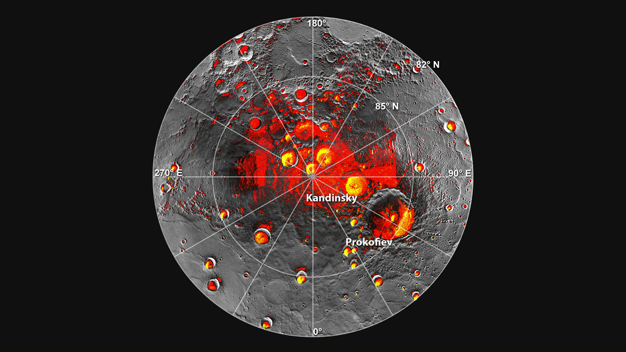 Images of Mercury's northern polar region, provided by MESSENGER. – Image Credit: NASA/JPL