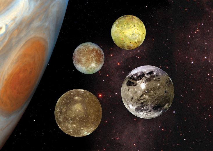 Illustration of Jupiter and the Galilean satellites. - Image Credit: NASA