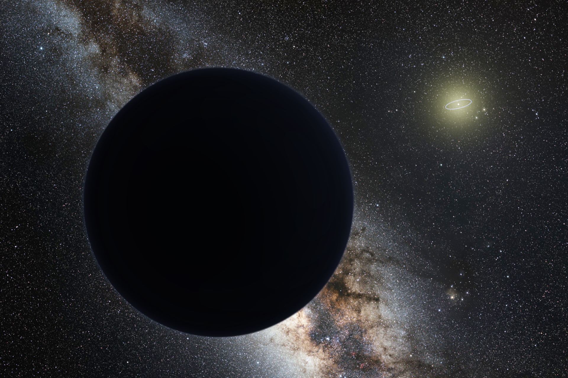 Artist's impression of Planet Nine as an ice giant eclipsing the central Milky Way, with the Sun in the distance – Image Credit: Tomruen/WikimediaCommons