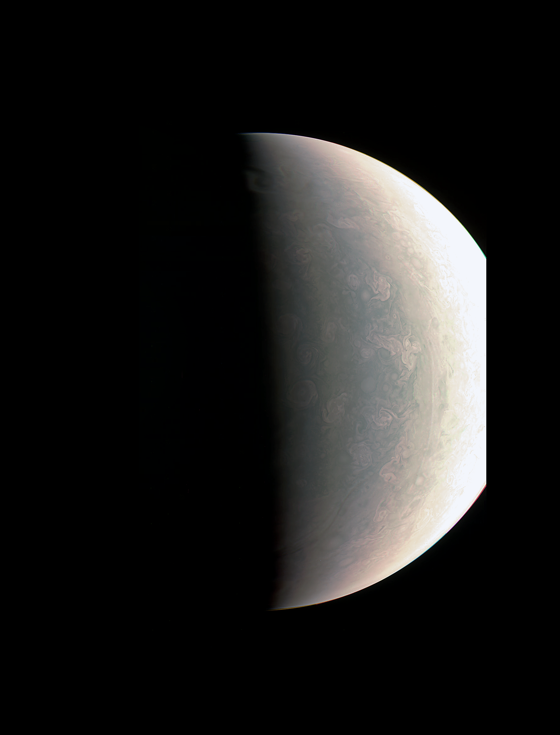 Juno was about 48,000 miles (78,000 kilometers) above Jupiter's polar cloud tops when it captured this view, showing storms and weather unlike anywhere else in the solar system. – Image Credits: NASA/JPL-Caltech/SwRI/MSSS