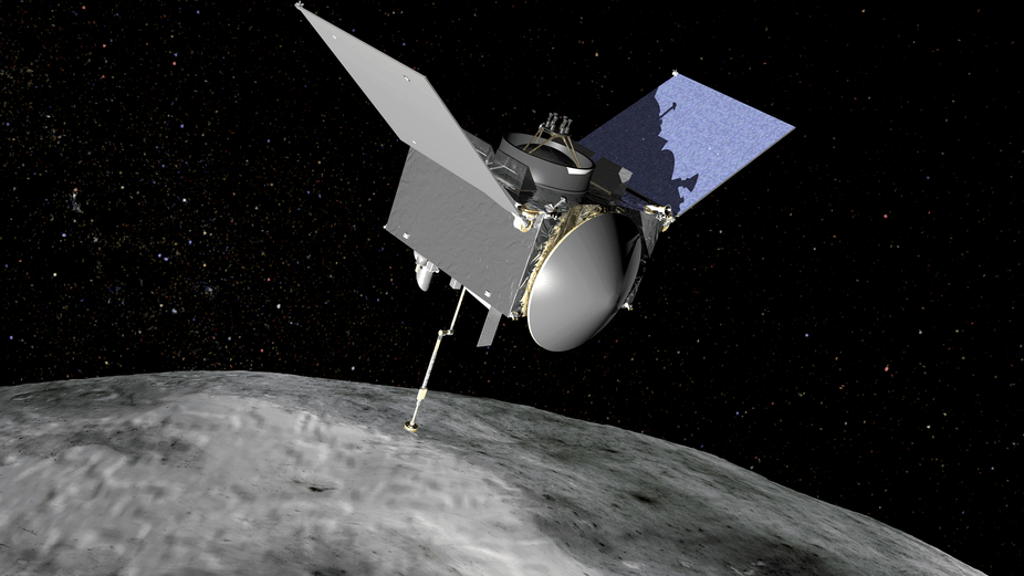 Artist's conception of the OSIRIS-REx spacecraft at Bennu asteroid. – Image Credit: NASA/GSFC