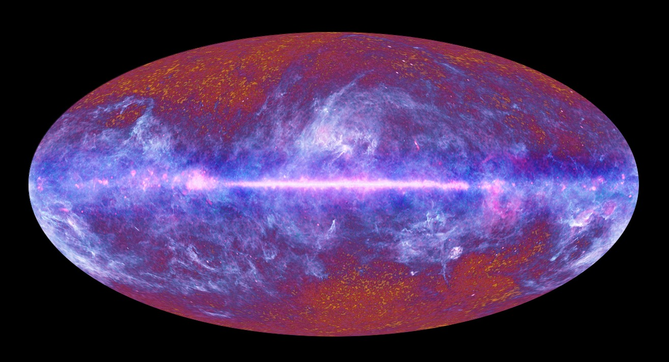 """A """"now and then"""" all-sky image captured by the Planck spacecraft, simultaneously showing our galaxy and its structures seen as in recent history; and 'then' – the red afterglow of the Big Bang seen as it was just 380,000 years later. – Image Credit: ESA"""