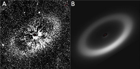 A is the observed image of HD 207917. B is the best-fit debris ring model of the same star. Image: Hubble, G. Schneider et. al. 2016.