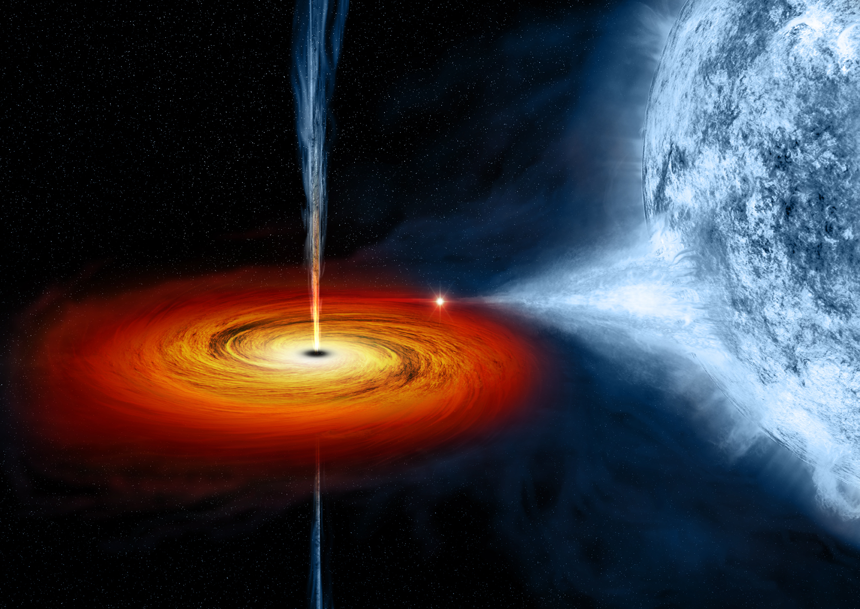 Artist's drawing a black hole (Cygnus X-1) as it pulls matter from a blue star beside it. - Image Credits: NASA/CXC/M.Weiss