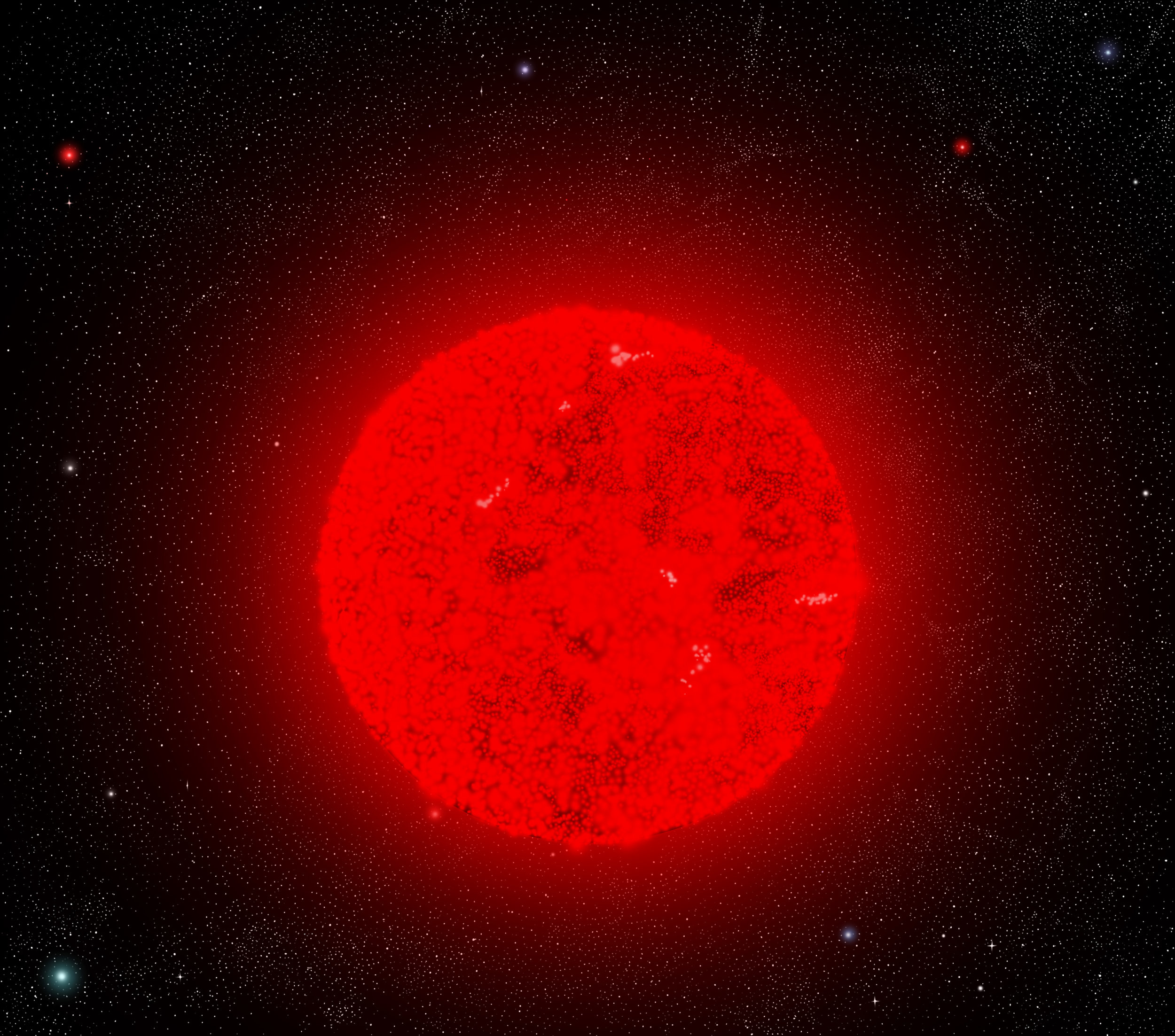 Artist's impression of the star in its multi-million year long and previously unobservable phase as a large, red supergiant. - Image Credit:  Sephirohq/WikimediaCommons