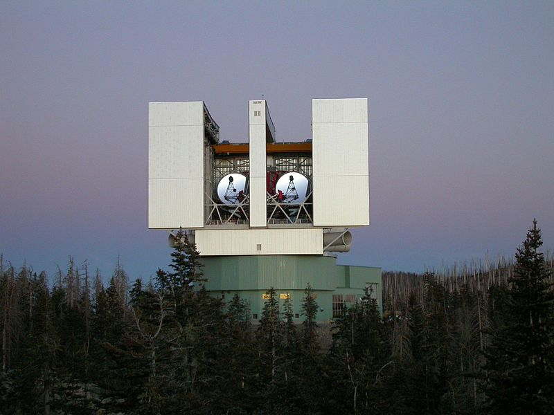 The Large Binocular Telescope, showing the two imaging mirrors. - Image Credit: NASA