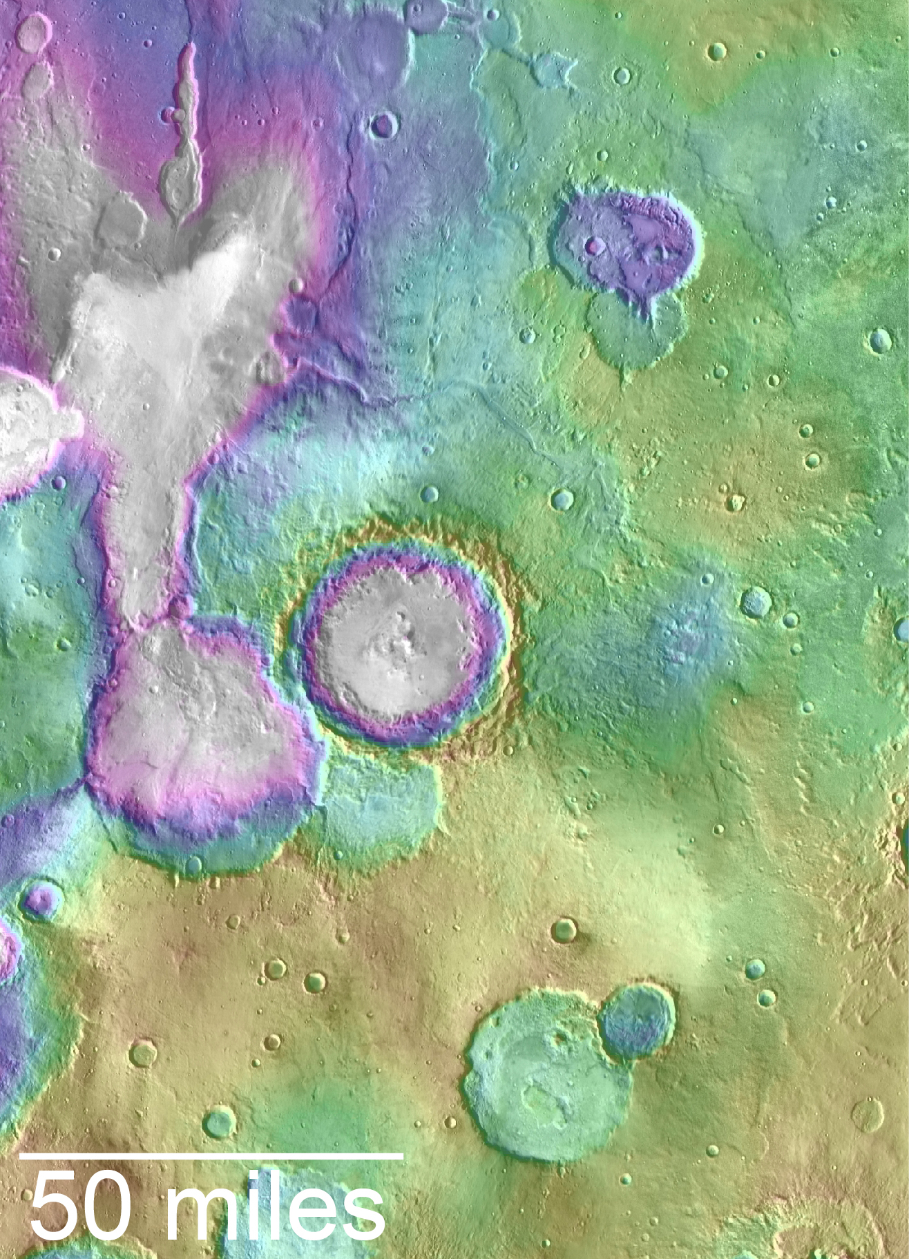 """Valleys much younger than well-known ancient valley networks on Mars are evident near the informally named """"Heart Lake"""" on Mars. This map presents color-coded topographical information overlaid onto a photo mosaic. Lower elevations are indicated with white and purple; higher elevations, yellow. - Image   Credits: NASA/JPL-Caltech/ASU"""