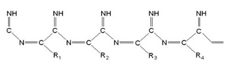 An example of a tholin molecule. This is a molecule proposed to form in the atmosphere of Saturn's moon Titan. Tholins on Charon probably have less nitrogen. after Ehrenfreund et al., 1996