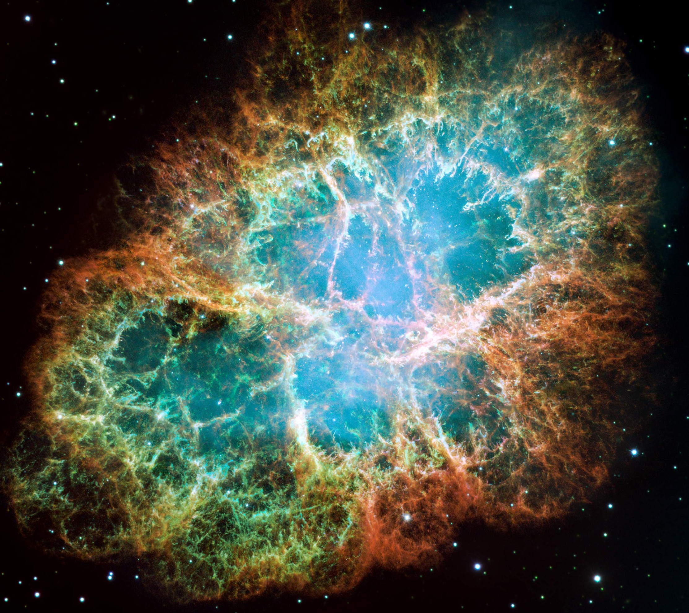The Crab Nebula; at its core is a long dead star… - Image credit: NASA, ESA, J. Hester and A. Loll (Arizona State University)