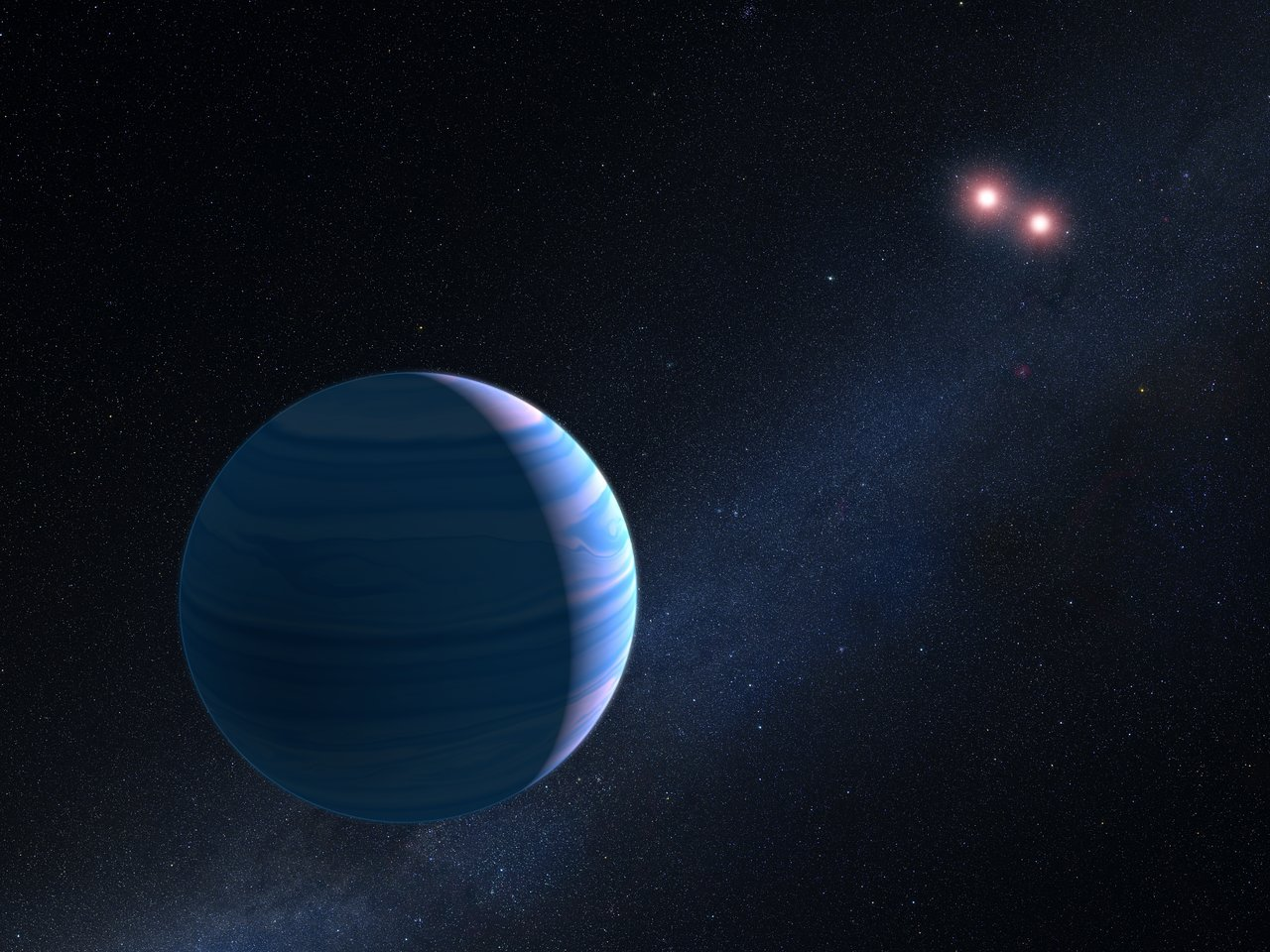 This artist's impression shows a gas giant planet circling the two red dwarf stars in the system OGLE-2007-BLG-349, located 8 000 light-years away. The planet — with a mass similar to Saturn — orbits the two stars at a distance of roughly 480 million kilometres. The two red dwarf stars are a mere 11 million kilometres apart. - Image Credit: NASA, ESA, and G.Bacon (STScl)