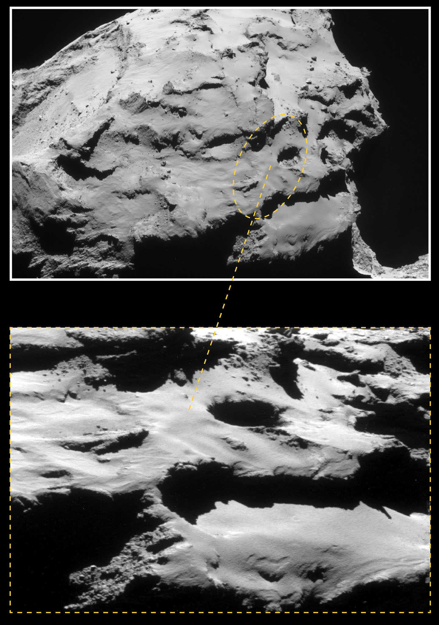 Rosetta is targeted to land at the site within this planned impact ellipse in the Ma'at region on the comet's smaller lobe. See below for a closer view. - Credit: ESA/Rosetta/NAVCAM – CC BY-SA IGO 3.0
