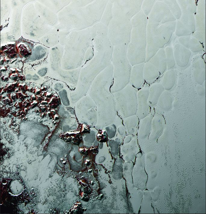 Like a cosmic lava lamp, a large section of Pluto's icy surface in Sputnik Planum is being constantly renewed by a process called convection that replaces older surface ices with fresher material. - Image Credit: NASA/Johns Hopkins University Applied Physics Laboratory/Southwest Research Institute.