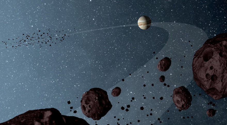 Artist's concept of the Trojan asteroids. By sheer number, small bodies dominate our solar system — and NASA's latest Discovery competition. Image Credit: NASA