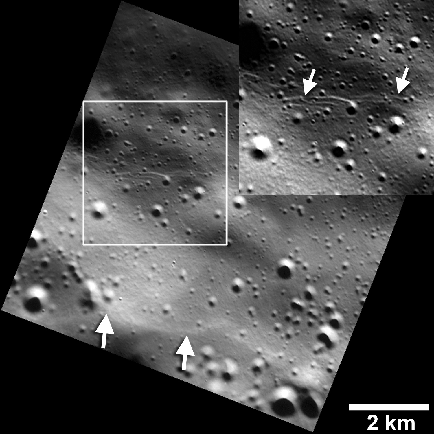 Images showing small fault scarps and trough (lower and upper white arrows) found on Mercury;s surface. - Image Credits: NASA/JHUAPL/Carnegie Institution of Washington/Smithsonian Institution.