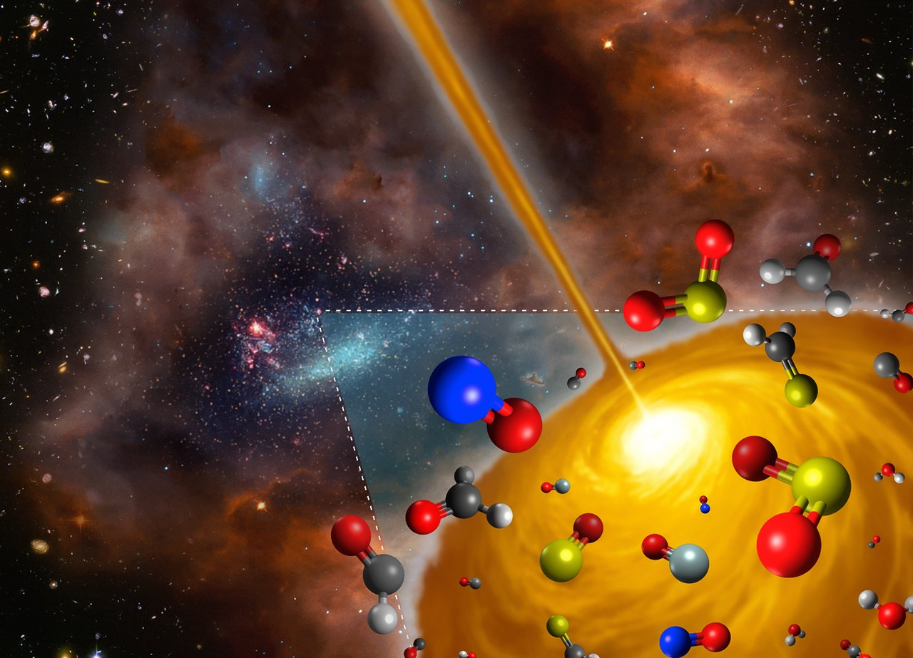 This artist's impression shows the molecules found in a hot molecular core in the Large Magellanic Cloud using ALMA. This core is the first such object to be found outside the Milky Way, and it has significantly different chemical makeup to those found in our own galaxy -   Image Credit: FRIS/Tohoku University
