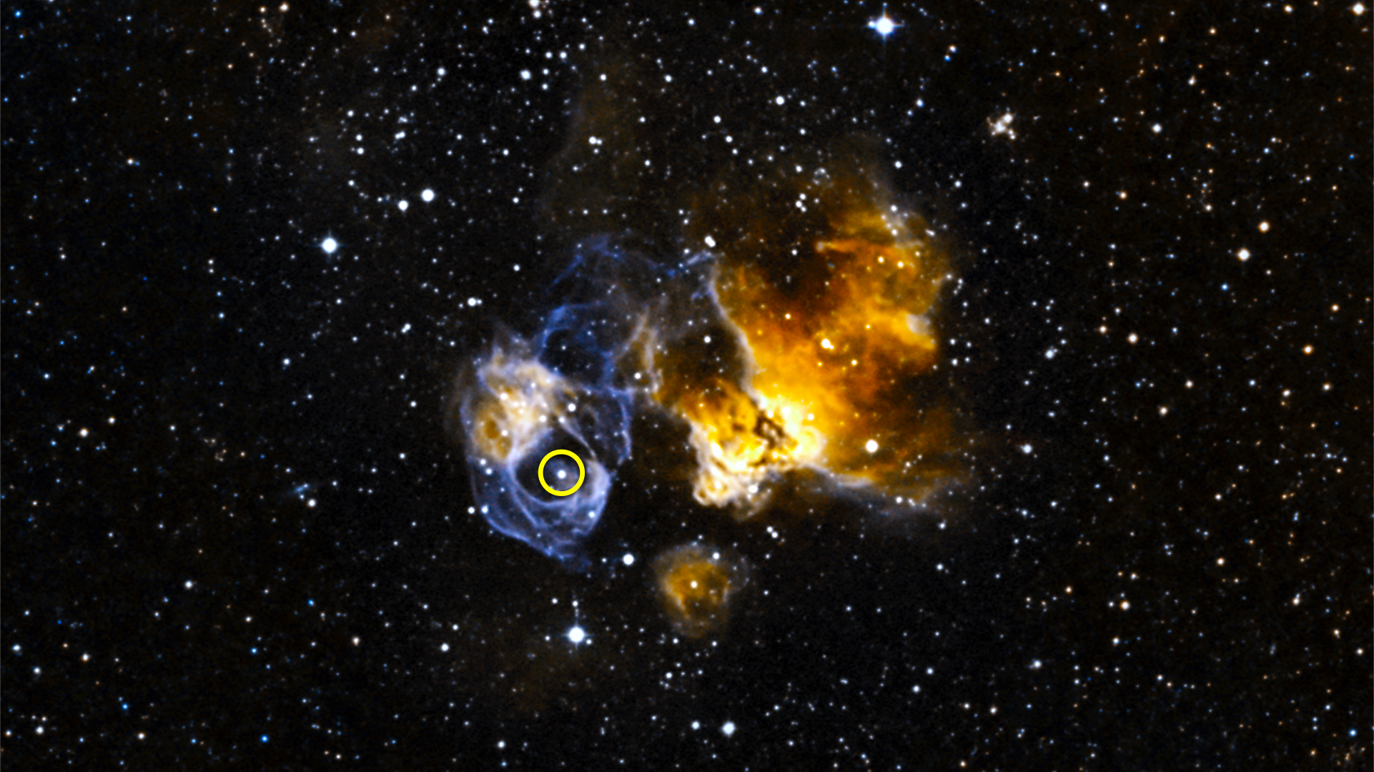 LMC P3 (circled) is located in a supernova remnant called DEM L241 in the Large Magellanic Cloud, a small galaxy about 163,000 light-years away. The system is the first gamma-ray binary discovered in another galaxy and is the most luminous known in gamma rays, X-rays, radio waves and visible light.