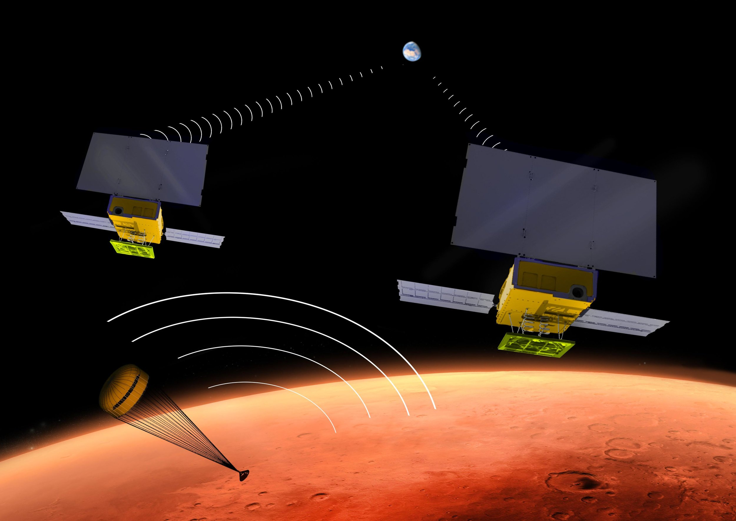 An artist's rendering of MarCO A and B during the descent of InSight. – Image Credit: NASA/JPL-Caltech