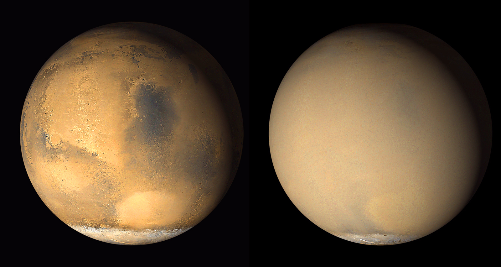 Two 2001 images from the Mars Orbiter Camera on NASA's Mars Global Surveyor orbiter show a dramatic change in the planet's appearance when haze raised by dust-storm activity in the south became globally distributed. The images were taken about a month apart. - Image   Credits: NASA/JPL-Caltech/MSSS