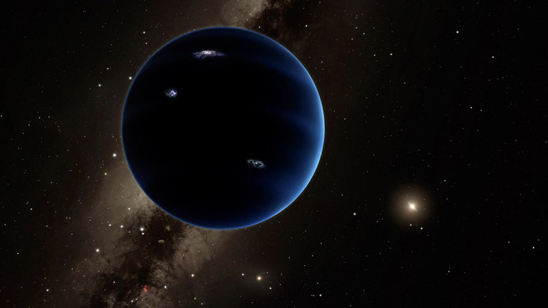 Artistic rendering shows the distant view from theoretical Planet Nine back towards the sun. The planet is thought to be gaseous, similar to Uranus and Neptune. Hypothetical lightning lights up the night side. Credit: Caltech/R. Hurt (IPAC)