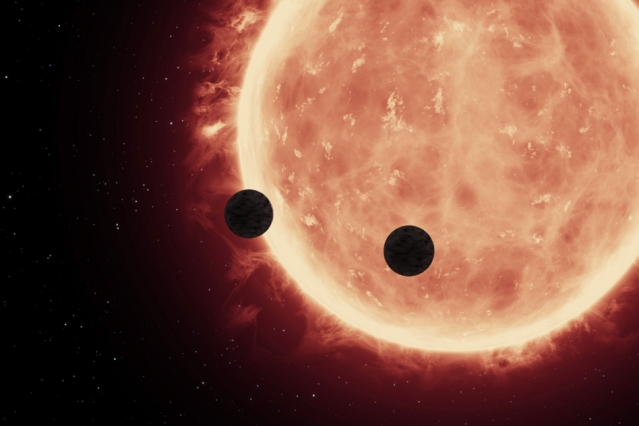 An artist's depiction of planets transiting a red dwarf star in the TRAPPIST-1 System. – Image Credit: NASA/ESA/STScl