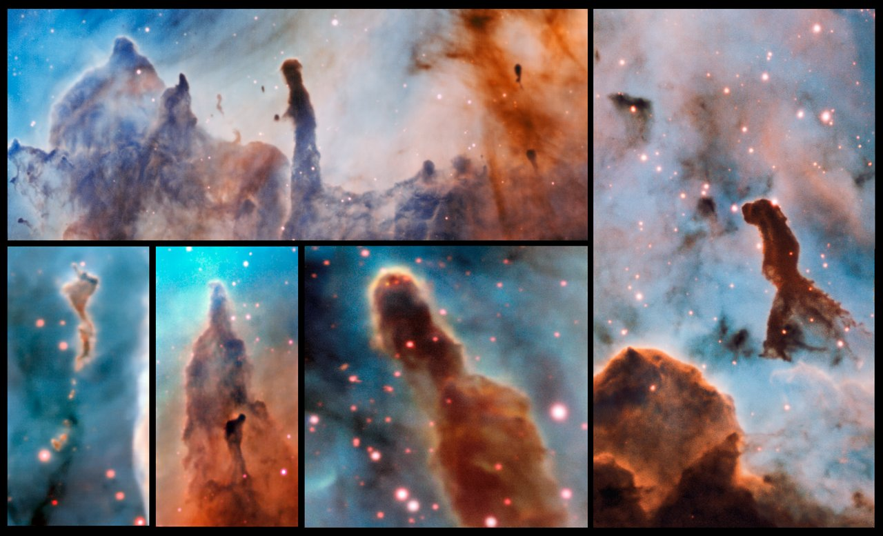 These composite image shows several pillars within the Carina Nebula which were observed and studied with the MUSE instrument, mounted on ESO's Very Large Telescope. The massive stars within the star formation region slowly destroy the pillars of dust and gas from which they are born. – Image Credit: ESO/A. McLeod