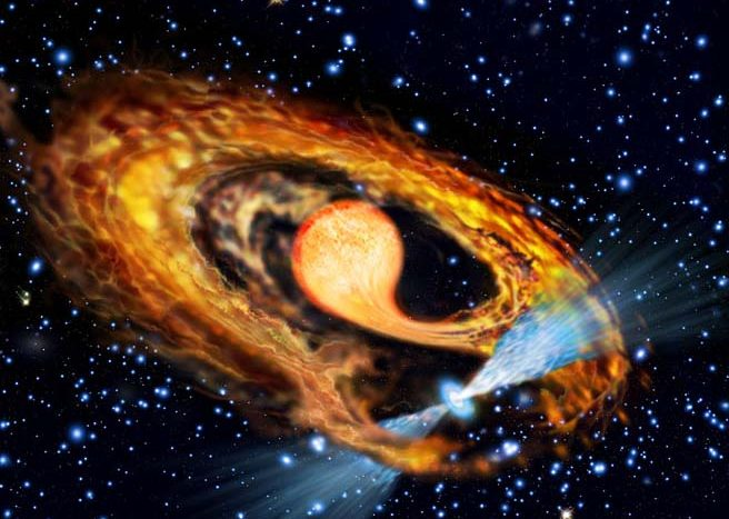 An artist's impression of a millisecond pulsar and its companion. The pulsar (blue) is accreting material from its bloated red companion star and increasing its rotation rate. Credit: ESA/Francesco Ferraro (Bologna Astronomical Observatory)