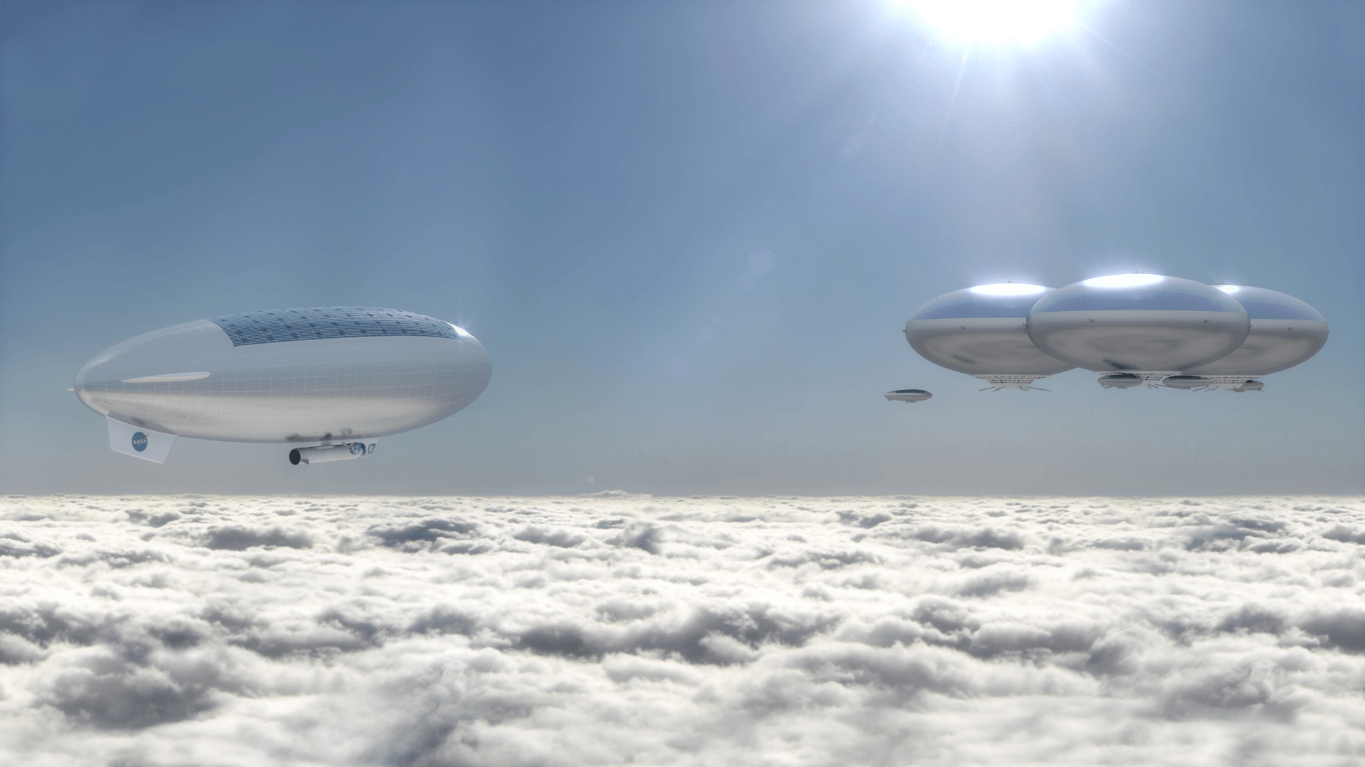 Artist's concept of a Venus cloud city — a possible future outcome of the High Altitude Venus Operational Concept (HAVOC) plan. - Image Credit: Advanced Concepts Lab at NASA Langley Research Center