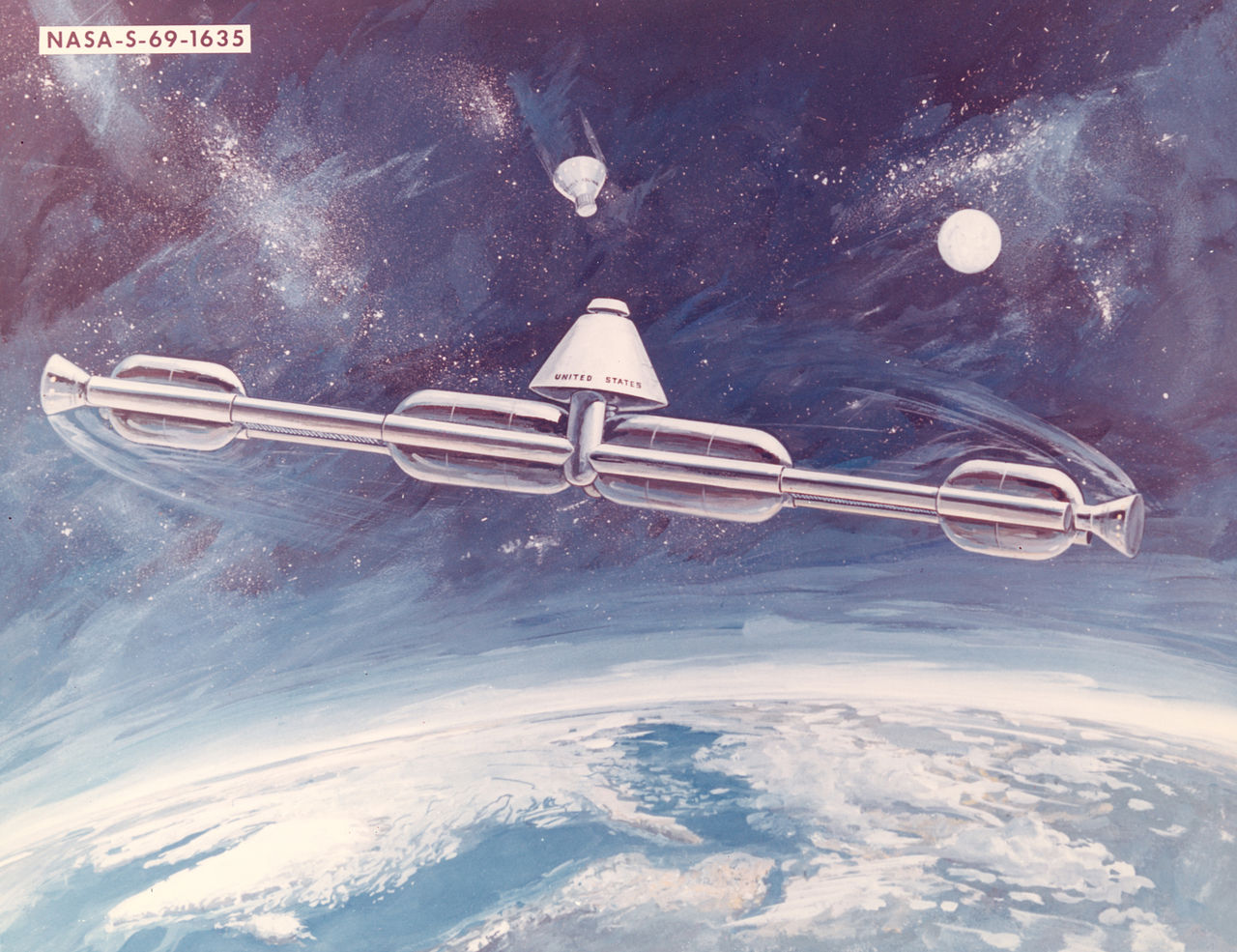 A 1969 station concept. The station was to rotate on its central axis to produce artificial gravity. The majority of early space station concepts created artificial gravity one way or another in order to simulate a more natural or familiar environment for the health of the astronauts. - Image Credit: NASA