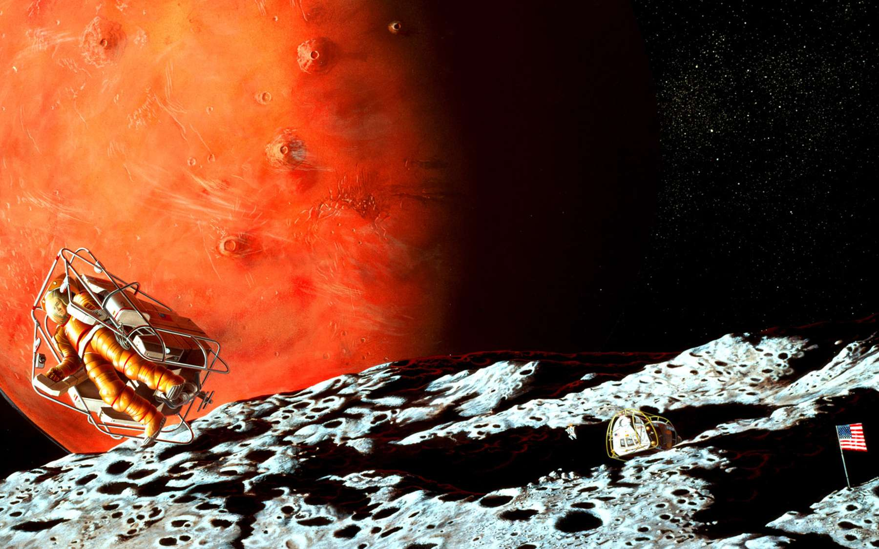 Two astronauts explore the rugged surface of Phobos. Mars, as it would appear to the human eye from Phobos, looms on the horizon. The mother ship, powered by solar energy, orbits Mars while two crew members inside remotely operate rovers on the Martian surface. - Image Credit: NASA/Pat Rawlings (SAIC)