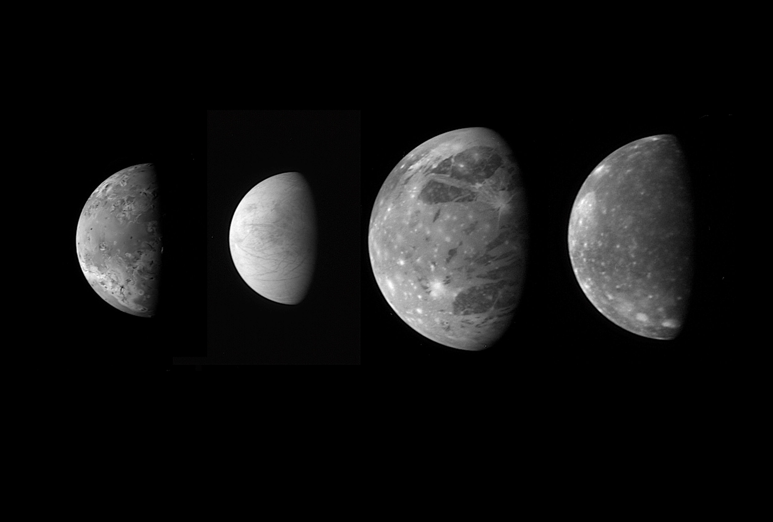 "A ""family portrait"" of the four Galilean satellites (Io Europa, Ganymede and Callisto) around Jupiter, taken by the New Horizons spacecraft and released in 2007. Credit: NASA/Johns Hopkins University Applied Physics Laboratory/Southwest Research Institute"