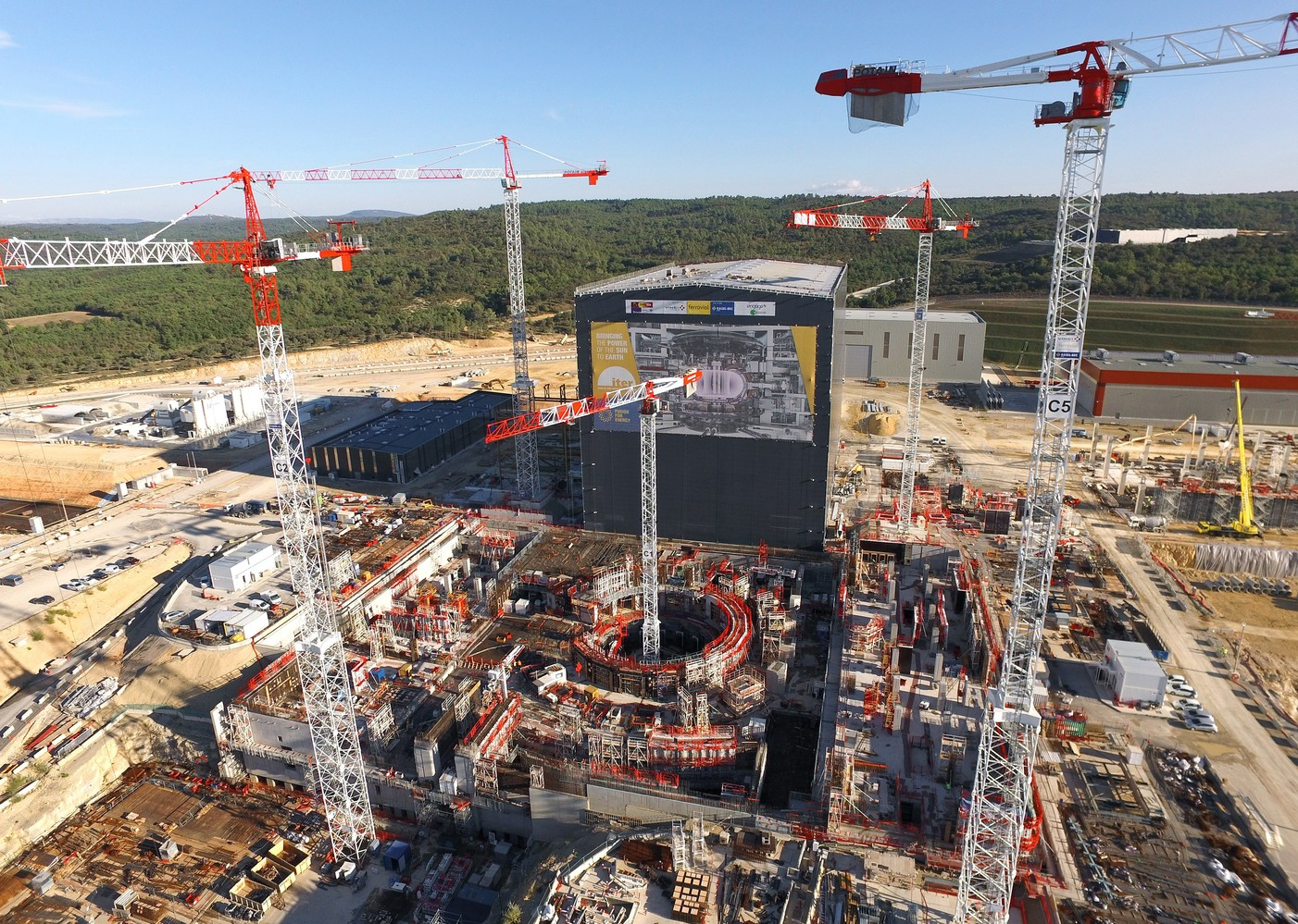 Under construction: the ITER research tokamak in France. - Image Credit: ITER
