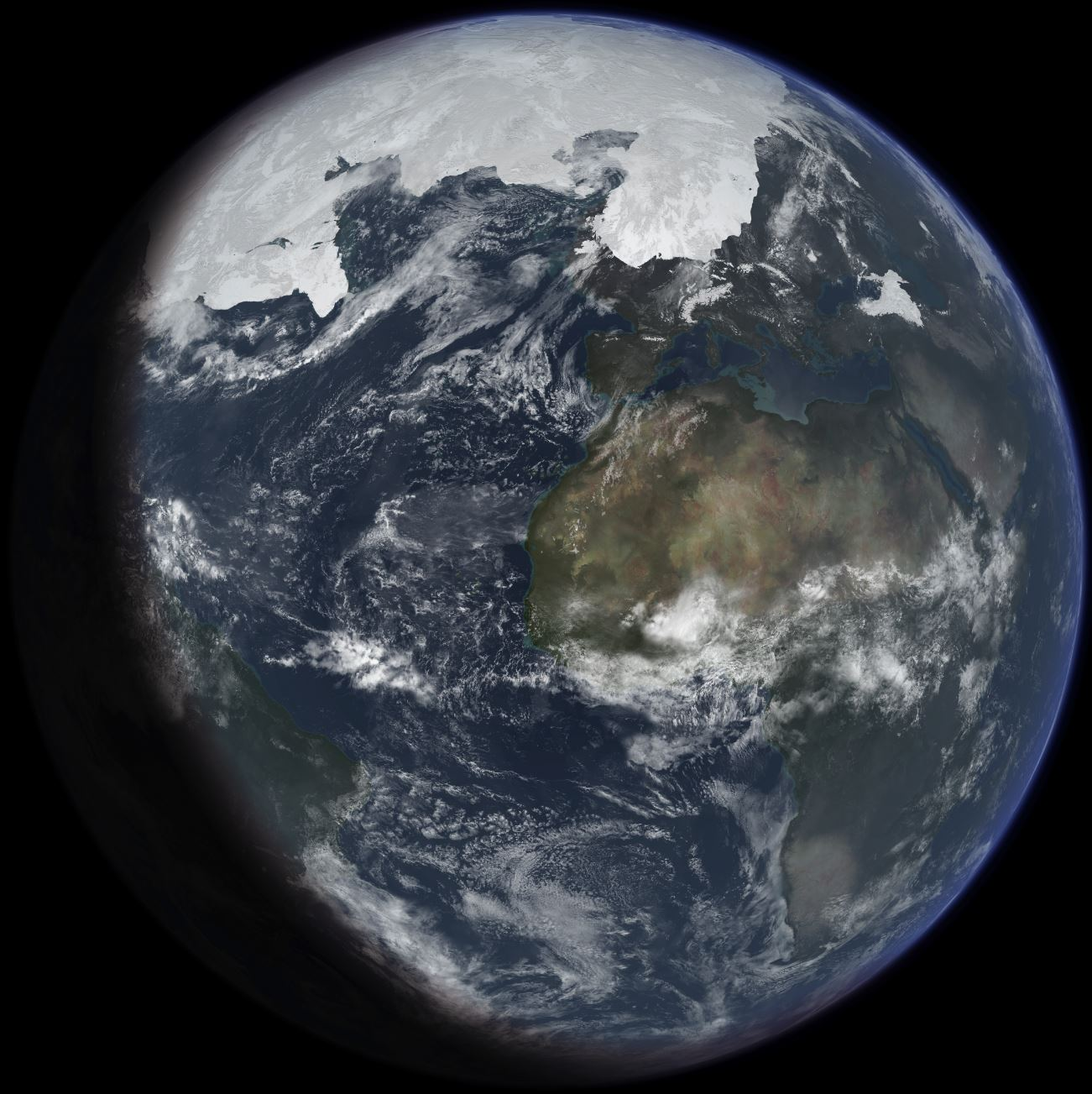 An artist's impression of ice age Earth at glacial maximum – Image Credit: Ittiz/WikimediaCommons