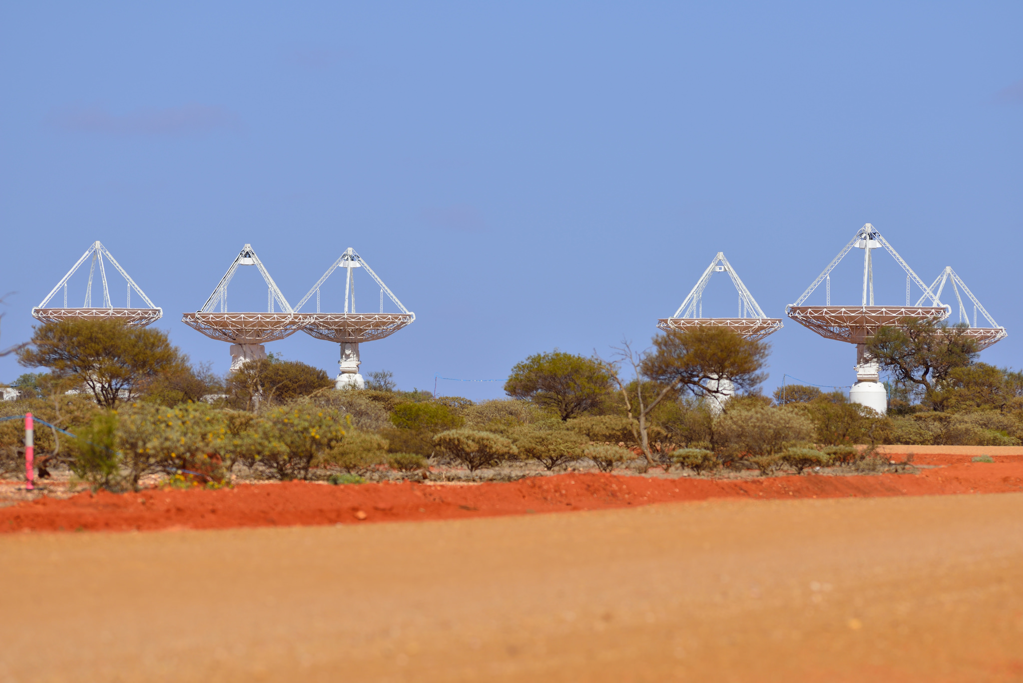 Part of CSIRO's ASKAP antennas at the Murchison Radio-astronomy Observatory (MRO) in Western Australia. - Image Credit: Australian SKA Office/WA Department of Commerce ,