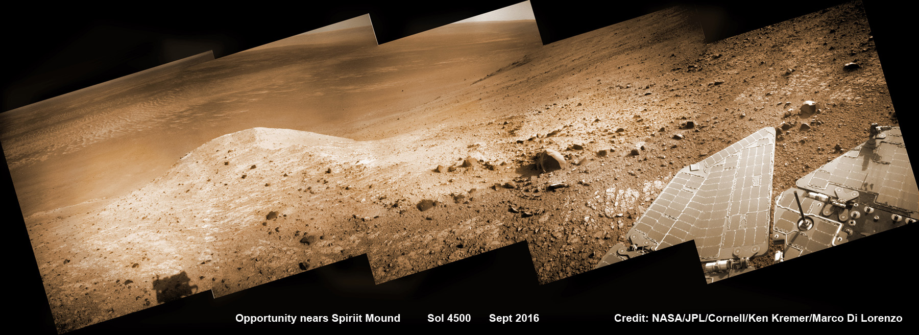 NASA's Opportunity rover scans ahead to Spirit Mound and vast Endeavour crater as she celebrates 4500 sols on the Red Planet after descending down Marathon Valley. This navcam camera photo mosaic was assembled from raw images taken on Sol 4500 (20 Sept 2016) and colorized. Credit: NASA/JPL/Cornell/ Ken Kremer/kenkremer.com/Marco Di Lorenzo