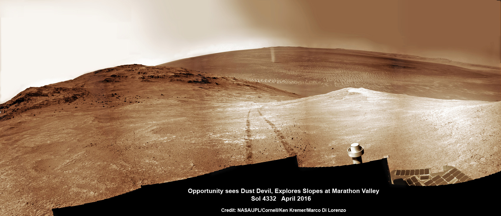 NASA's Opportunity rover discovers a beautiful Martian dust devil moving across the floor of Endeavour crater as wheel tracks show robots path today exploring the steepest ever slopes of the 13 year long mission, in search of water altered minerals at Knudsen Ridge inside Marathon Valley on 1 April 2016. This navcam camera photo mosaic was assembled from raw images taken on Sol 4332 (1 April 2016) and colorized. Credit: NASA/JPL/Cornell/ Ken Kremer/kenkremer.com/Marco Di Lorenzo