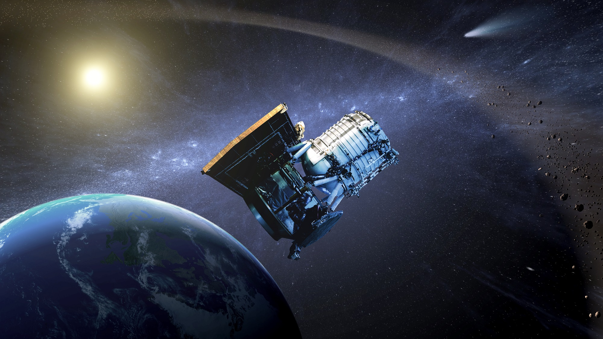 Artist's concept of the Wide-field Infrared Survey Explorer as its orbit around Earth. Credit: NASA/JPL
