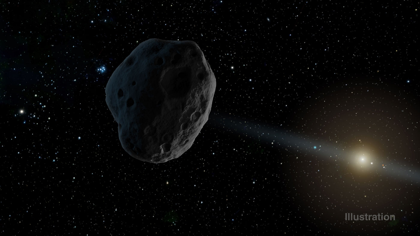 Artist's rendition of the comet 2016 WF9 as it passes Jupiter's orbit and moves toward the sun. - Image Credit: NASA/JPL-Caltech