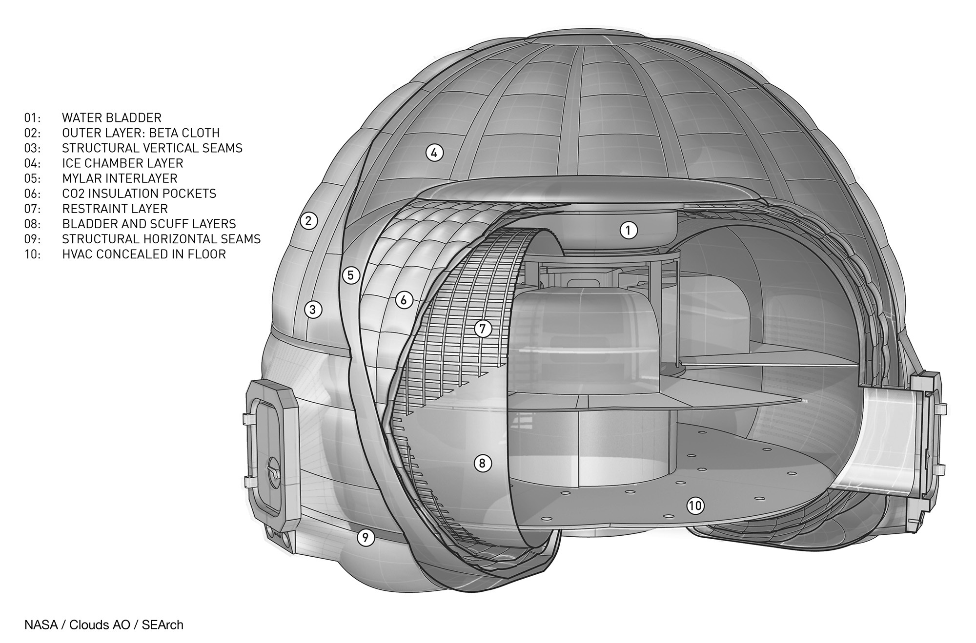 A cutaway of the interior of the Mars Ice Home concept. - Image Credit: NASA Langley/Clouds AO/SEArch.