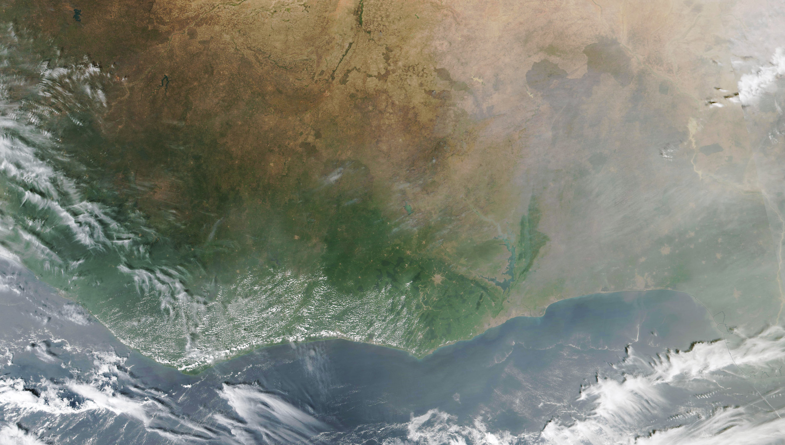 Numerous fires create a smoky pall over the skies of western Africa. The image above was acquired on December 10, 2015. – Image Credits: NASA Earth Observatory image by Joshua Stevens, using VIIRS data from Suomi NPP