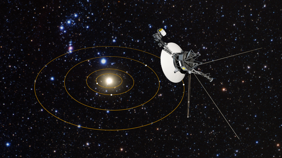 Artist concept of Voyager 1's View of Solar System. Credit: NASA, ESA, and J. Zachary and S. Redfield (Wesleyan University); Artist's Illustration - Image Credit: NASA, ESA, and G. Bacon (STScI).