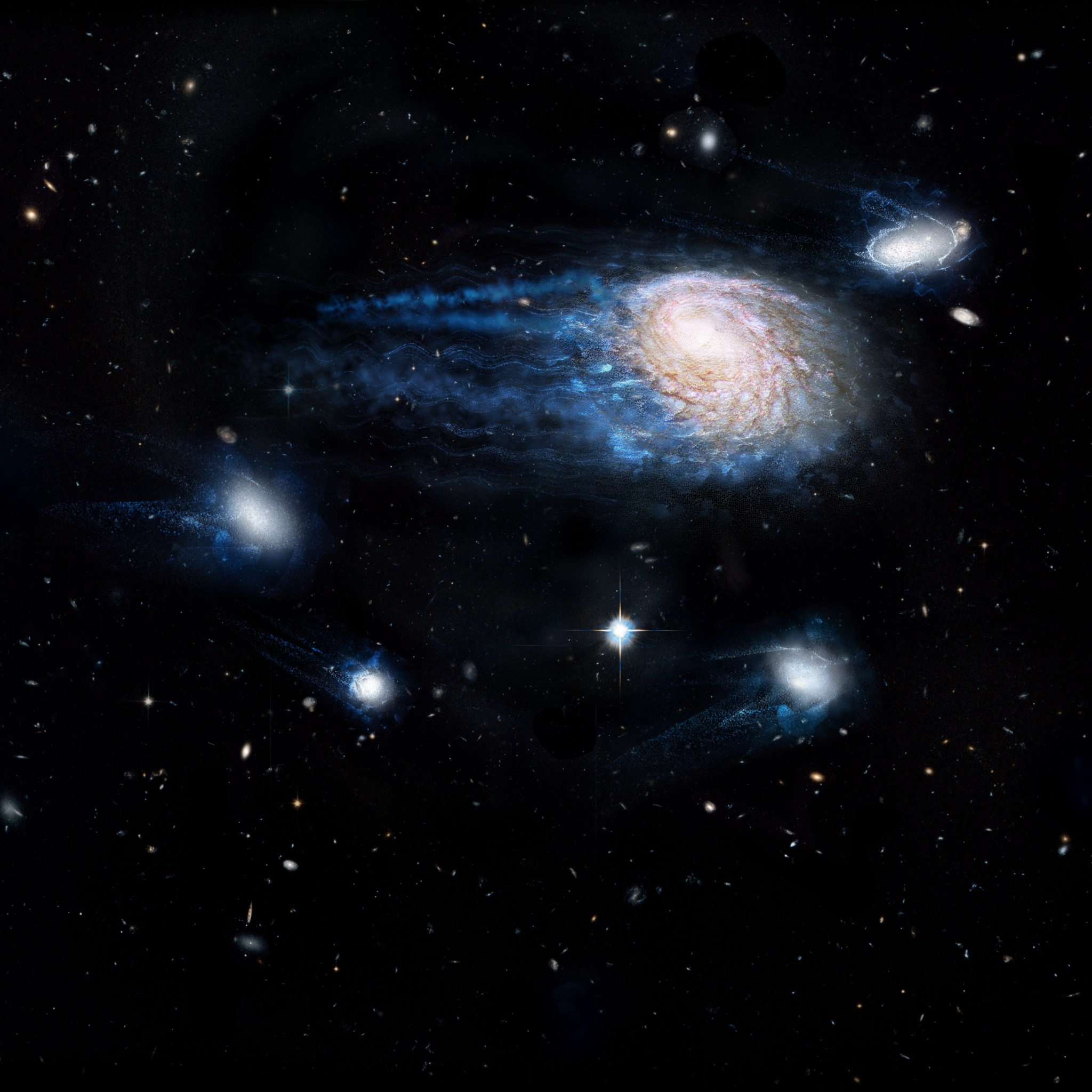 Artist's impression showing the increasing effect of ram-pressure stripping in removing gas from galaxies, sending them to an early death. - Image Credit: ICRAR/NASA/ESA/Hubble Heritage Team (STScI/AURA)