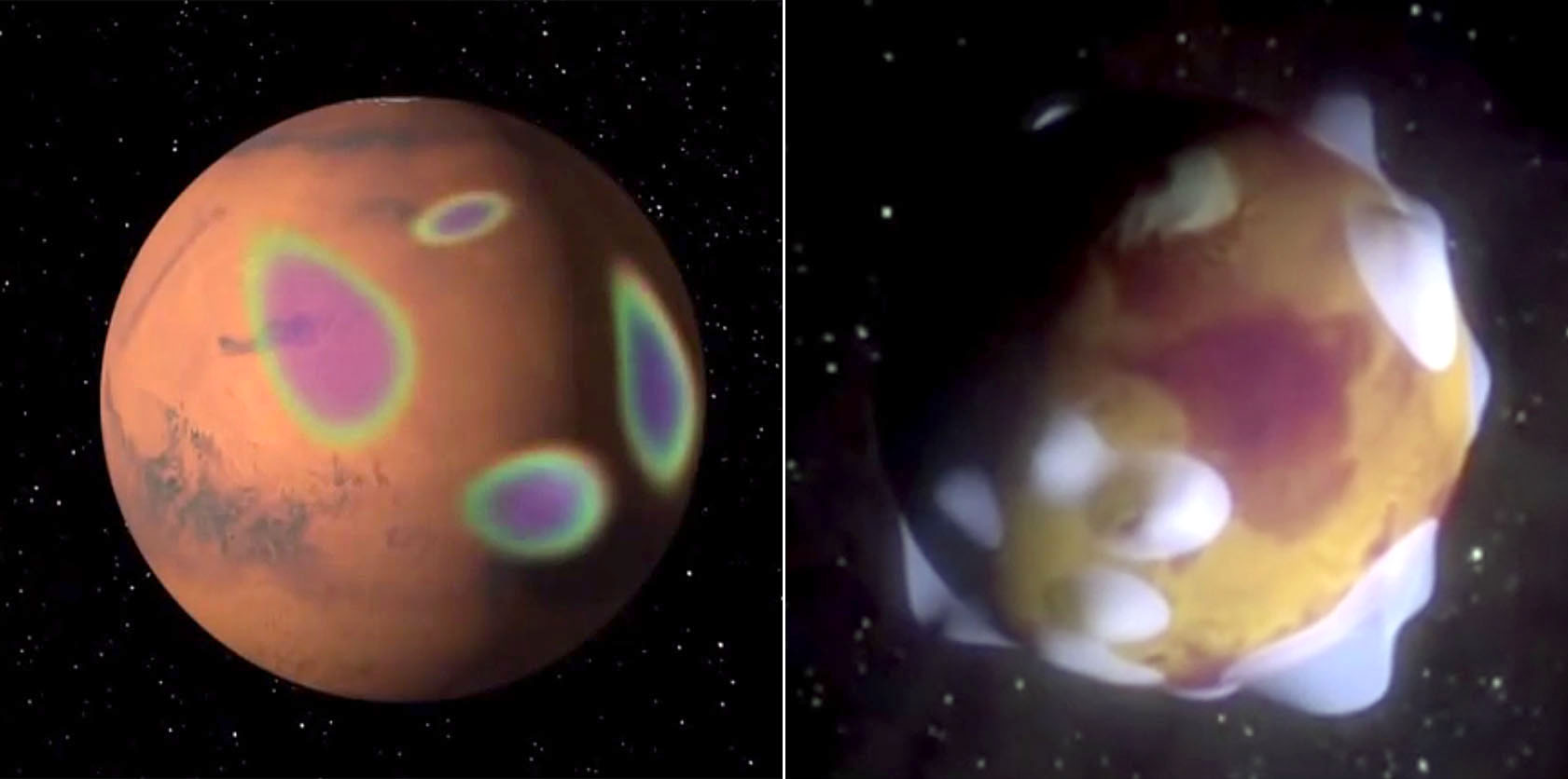 Mars has magnetized rocks in its crust that create localized, patchy magnetic fields (left). In the illustration at right, we see how those fields extend into space above the rocks. At their tops, auroras can form. - Image Credit: NASA