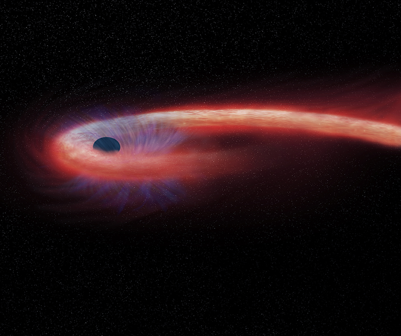 "This artist's illustration depicts what astronomers call a ""tidal disruption event,"" or TDE, when an object such as a star wanders too close to a black hole and is destroyed by tidal forces generated from the black hole's intense gravitational forces. – Image Credit: NASA/CXC/M.Weiss."