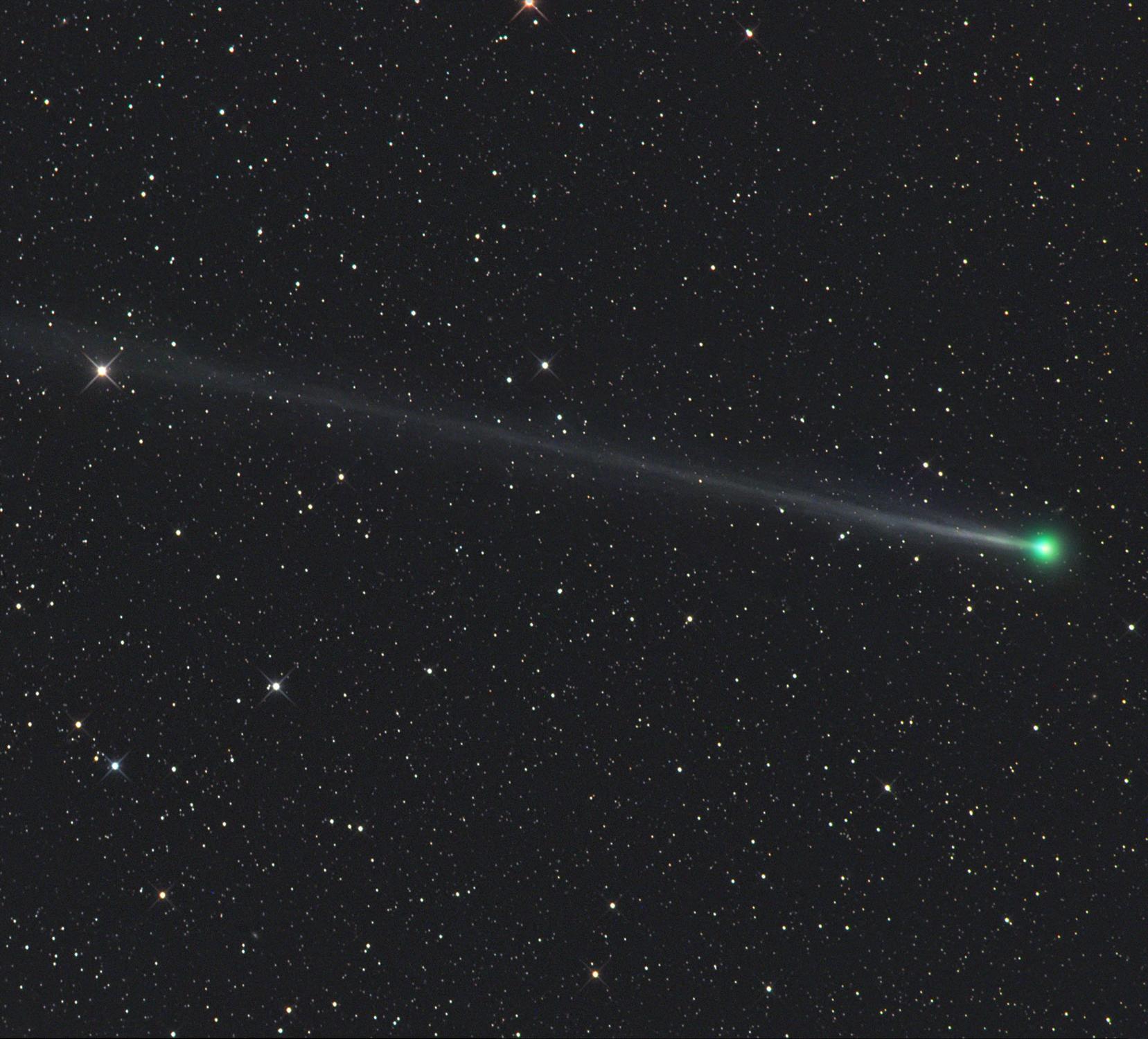 Comet 45P/Honda-Mrkos-Pajdušáková is captured using a telescope on December 22 from Farm Tivoli in Namibia, Africa. – Image Credit: Gerald Rhemann