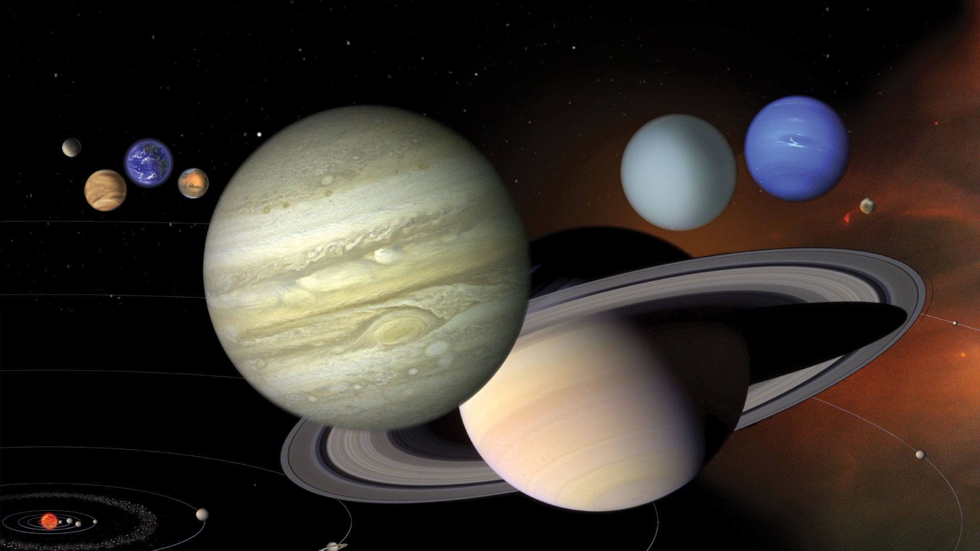 An illustration showing the 8 planets of the Solar System to scale. - Image Credit: NASA